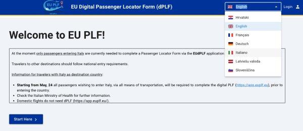 Compilazione EU PLF - cambio lingua