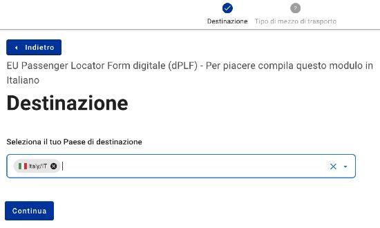 Modulo EU PLF - destinazione