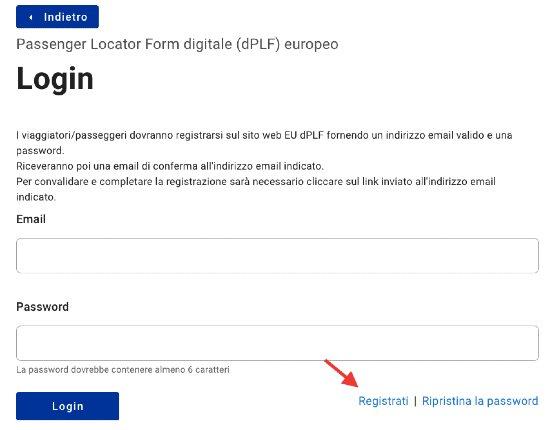 Modulo EU PLF - login